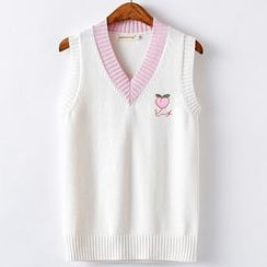 Candy House - Embroidered Knit Vest