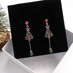 Joodii - 圣诞树水钻耳坠
