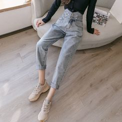 Sitron - High-Waist Cropped Straight-Fit Jeans