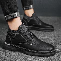 TATALON - 仿皮针织拼接系带鞋