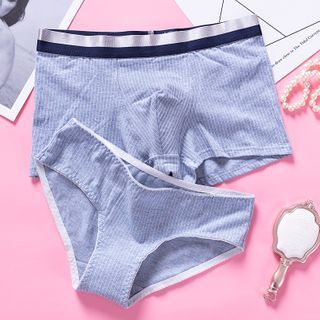 Pancherry - Couple Matching Set: Pinstriped Panties + Boxer Briefs