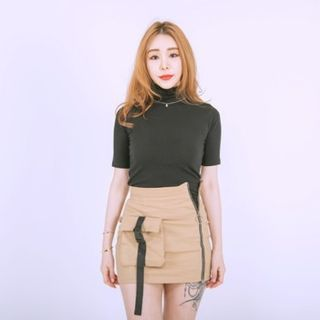 clubber - High-Neck Short-Sleeve Slim-Fit Top