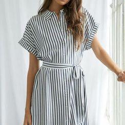 Lucada - 条纹短袖迷你衬衫裙