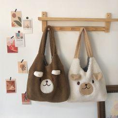 TangTangBags(タンタンバッグズ) - Cartoon Bear Fleece Tote Bag