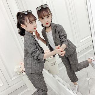 Qin Qin - Kids Set: Plaid Blazer + Dress Pants