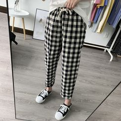 Jeonseon - Gingham Cropped Tapered Pants