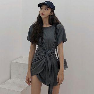 Jeans Kingdom - Short-Sleeve Knotted T-Shirt Mini Dress