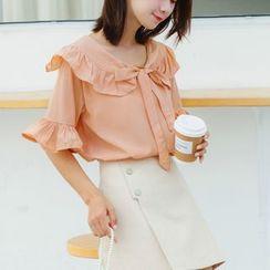 OGAWA - 喇叭袖荷叶边领结带衬衫