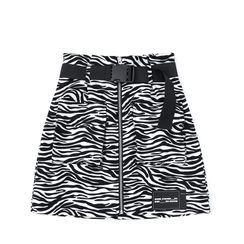 JIN STUDIOS - Zebra Print Mini A-Line Skirt