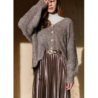 Styleonme - Scallop-Hem Glittered Furry Cardigan