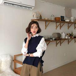 MERONGSHOP - Tie-Side Dip-Back Knit Vest