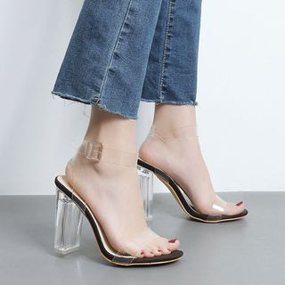 Niuna - Clear Ankle Strap Block Heel Sandals