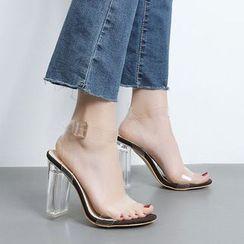 Niuna(二ウナ) - Clear Ankle Strap Block Heel Sandals