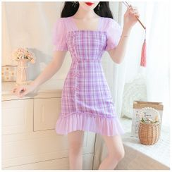 Petit Lace - Short-Sleeve Mesh-Panel Check Dress