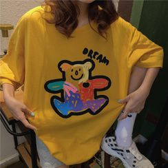 Cloud Nine - Bear Print Elbow-Sleeve T-Shirt