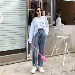 DABAGIRL - Set: Printed Boxy T-Shirt + Drawstring-Waist Wide-Leg Pants