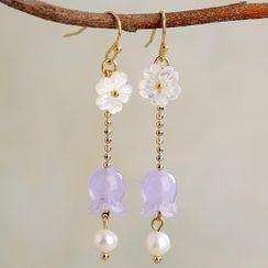 Kanzashi - 仿珍珠人造水晶花朵耳坠