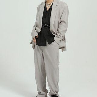 FAERIS - Plain Single-Breasted Blazer / Straight Leg Pants
