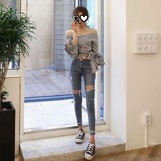 Ilda - 做旧修身牛仔裤