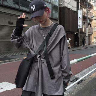 Honwi - 长袖前结带裙衣T裇