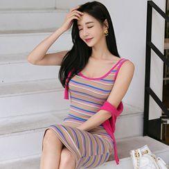Hasu - Striped Midi Knit Tank Dress