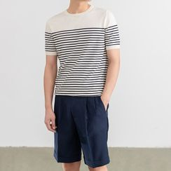 Orizzon(オリッゾン) - Short-Sleeve Striped T-Shirt