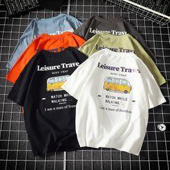 Passerine - Car Printed Lettering Short-Sleeve T-Shirt