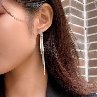 Thousand Stars - Rhinestone Metal Fringe Dangle Earring