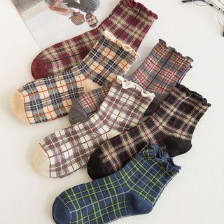Mimiyu - Set of 4: Plaid Crew Socks
