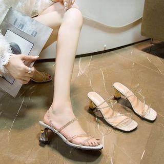 Novice - Rhinestone Strappy Chunky-Heel Sandals