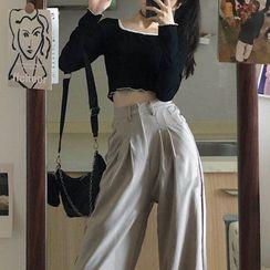 Horis - 荷叶短款T恤/宽松慢跑裤