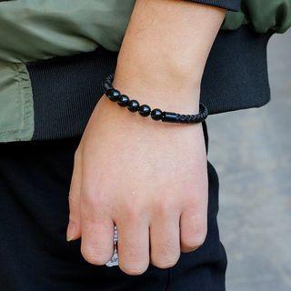 KINNO(キンノ) - Genuine Leather Beaded Woven Cord Bracelet