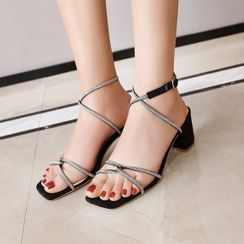 Cinnabelle - Block Heel Rhinestone Strappy Sandals