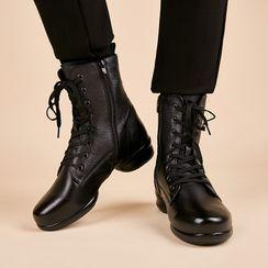 戀上舞 - 繫帶短款舞蹈靴