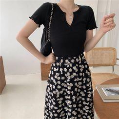 Meatacci - Split-Neck Short-Sleeve T-Shirt / Flower Print Midi A-Line Skirt