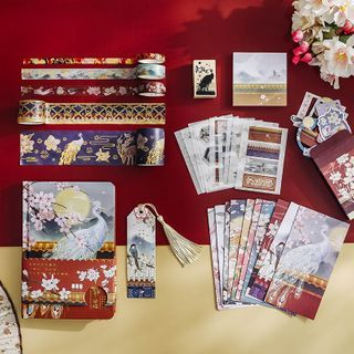SOONERGO - Set: Retro Print Notebook + Masking Tape + Bookmark + Stamp + Sticky Note + Diary Background Decoration Paper