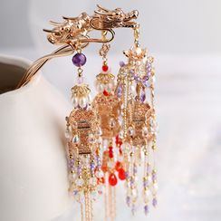Kanzashi - Retro Alloy Hair Stick / Lantern Dangling Add On / Earring