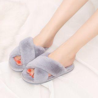 Aneka - Cross Strap Fluffy Slippers