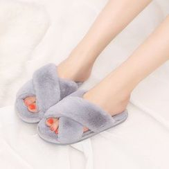 Aneka - Cross Strap Furry Slippers