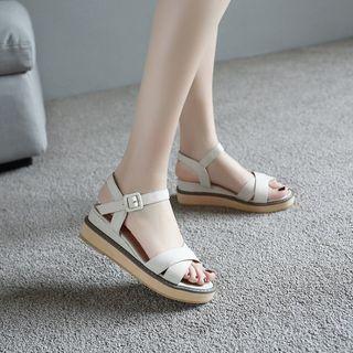 Megan - 交叉帶厚底涼鞋