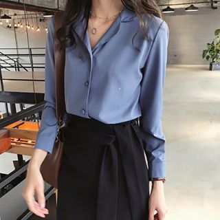 Bamela - Long-Sleeve Button-Up Open-Collar Chiffon Blouse