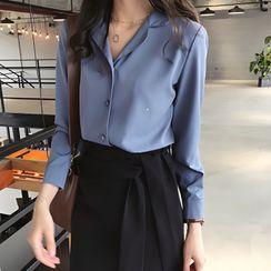 Bamela - Long-Sleeve Button-Up Open-Collar Chiffon Blouse