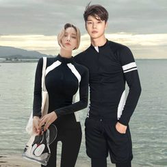 Salanghae - Couple Matching Long Sleeve Rashguard / Swim Pants / Beach Shorts / Skirt / Bottom / Set