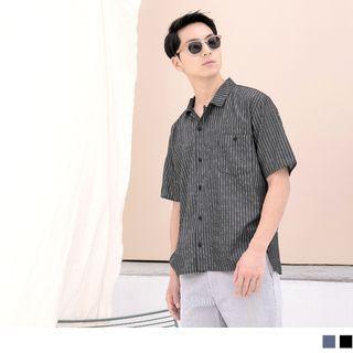 OrangeBear - Short-Sleeve Striped Shirt