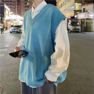 Naideth - Plain Long-Sleeve Shirt / V-Neck Knit Vest