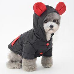 Pettrip - 动物耳朵连帽夹棉宠物上衣