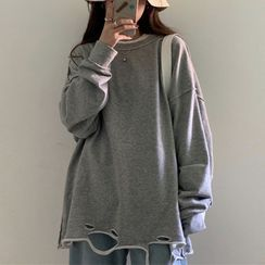 Hevnir - Long-Sleeve Ripped T-Shirt