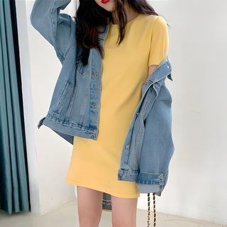 CRIBI - Plain Short-Sleeve T-Shirt Dress