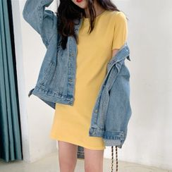 CRIBI - Plain Short-Sleeve T-Shirt Dress