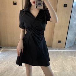 Antoinine - Short-Sleeve Irregular A-Line Mini Shirtdress